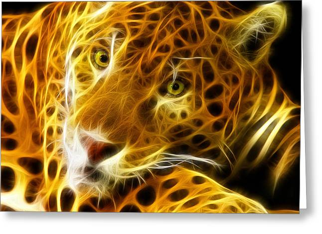 Lion Illustrations Greeting Cards - Tiger Face  Greeting Card by Mark Ashkenazi