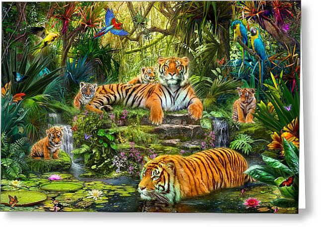 Botanical Greeting Cards - Tiger Family at the Pool Greeting Card by Jan Patrik Krasny