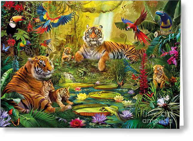 Jungle Animals Greeting Cards - Tiger Family in the jungle Greeting Card by Jan Patrik Krasny