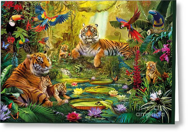 Tiger Illustration Greeting Cards - Tiger Family in the jungle Greeting Card by Jan Patrik Krasny