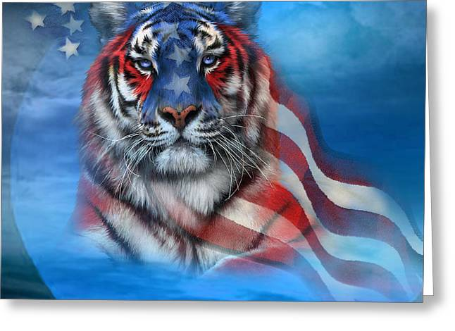 Tiger Flag Greeting Card by Carol Cavalaris