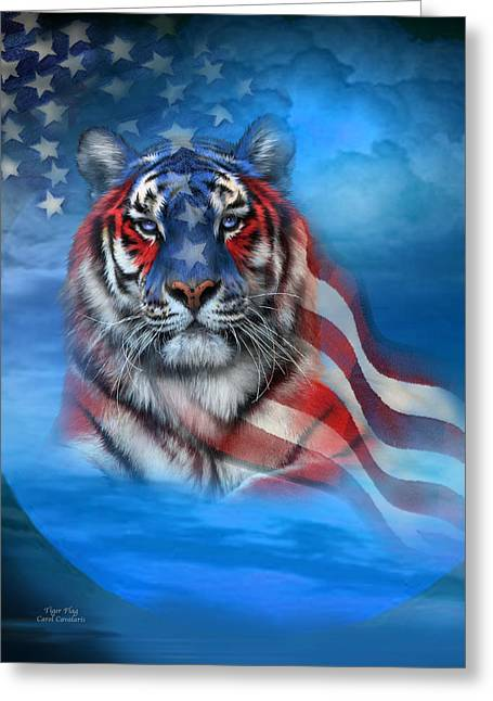 Independence Day Mixed Media Greeting Cards - Tiger Flag Greeting Card by Carol Cavalaris