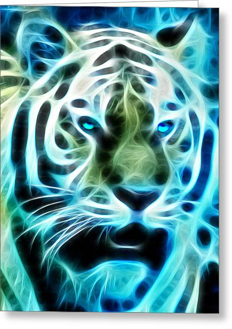 Tiger Fractal Greeting Cards - Tiger Fractal Greeting Card by Bill Cannon