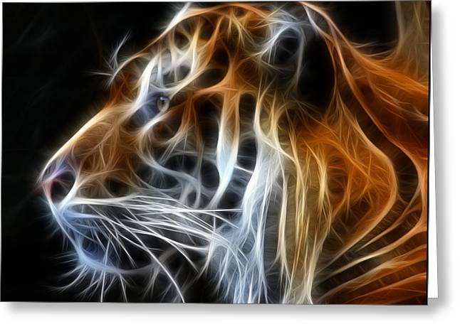 Glowing Mixed Media Greeting Cards - Tiger Fractal Greeting Card by Shane Bechler