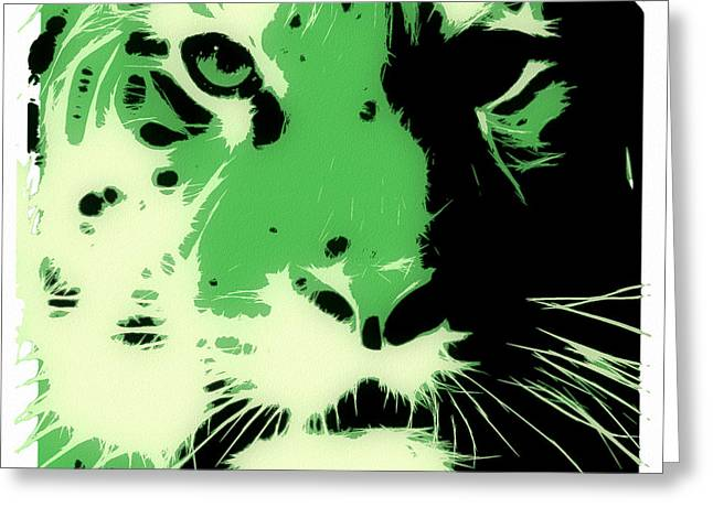 Tilly Art Greeting Cards - Tiger Green Greeting Card by Tilly Williams