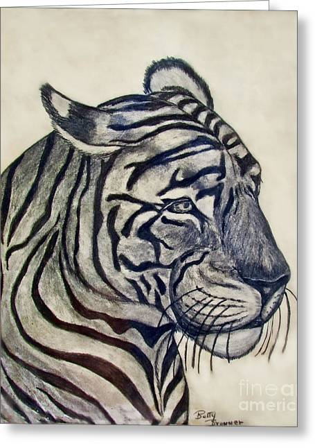 Photomanipulation Drawings Greeting Cards - Tiger II Greeting Card by Debbie Portwood