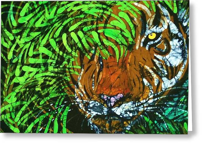 The Tiger Tapestries - Textiles Greeting Cards - Tiger in Bamboo  Greeting Card by Kay Shaffer