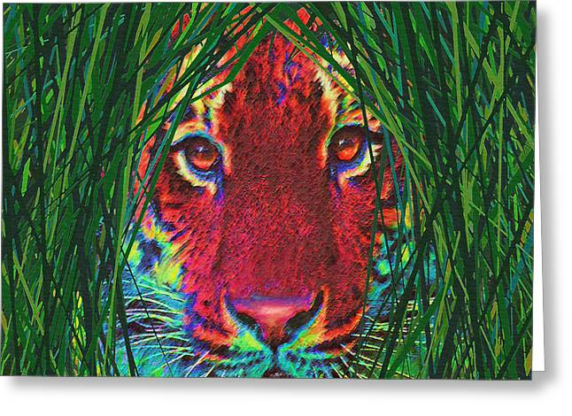 The Tiger Greeting Cards - Tiger In The Grass Greeting Card by Jane Schnetlage