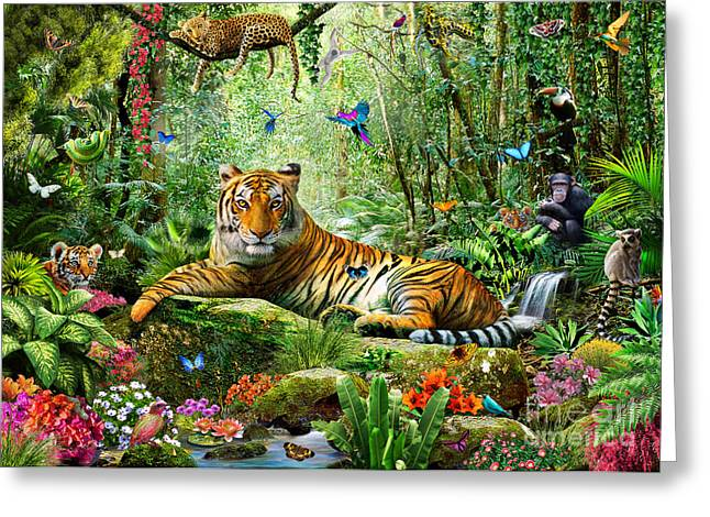 Tiger Illustration Greeting Cards - Tiger In The Jungle Greeting Card by Adrian Chesterman