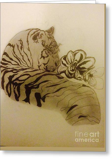 The Tiger Greeting Cards - Tiger in the shade Greeting Card by Franky A HICKS