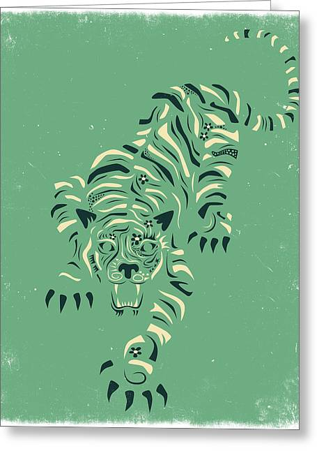 Tiger Illustration Greeting Cards - Tiger Greeting Card by Jazzberry Blue