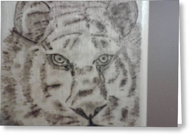 Young Pyrography Greeting Cards - Tiger Greeting Card by JJ Oosthuizen
