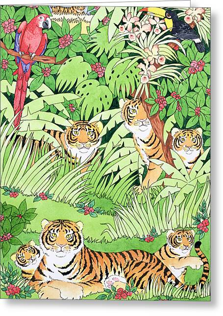 Parrots Greeting Cards - Tiger Jungle Greeting Card by Suzanne Bailey