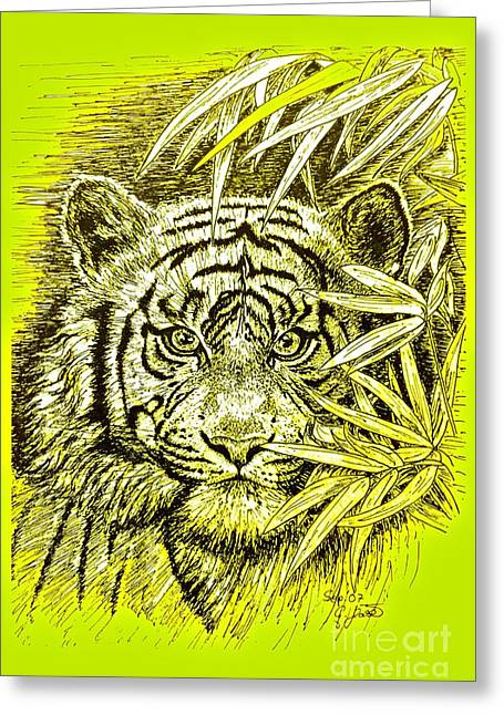 The Tiger Drawings Greeting Cards - Tiger - King Of The Jungle Greeting Card by Gitta Glaeser