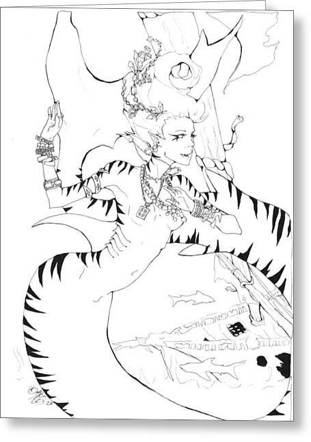 White Shark Drawings Greeting Cards - Tiger Lady Greeting Card by Brooke McDaniel
