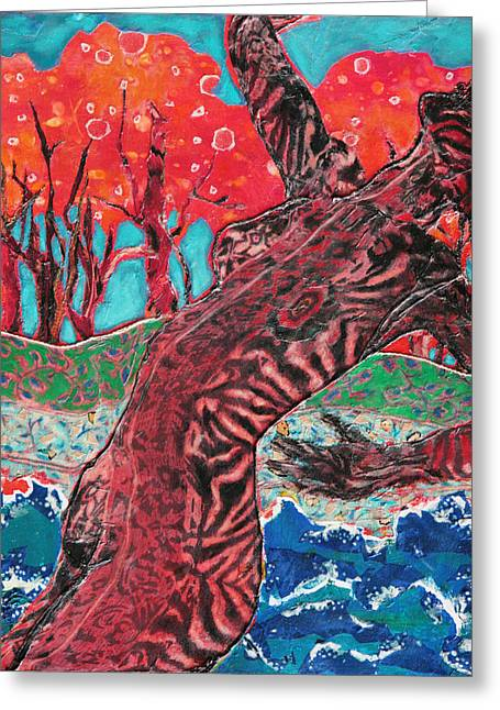 Diane Fine Greeting Cards - Tiger Lady Greeting Card by Diane Fine
