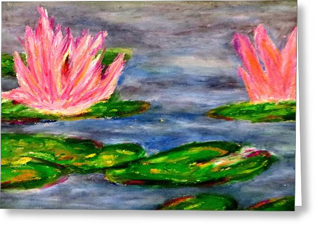 Water Lilly Pastels Greeting Cards - Tiger lillies Greeting Card by Daniel Dubinsky