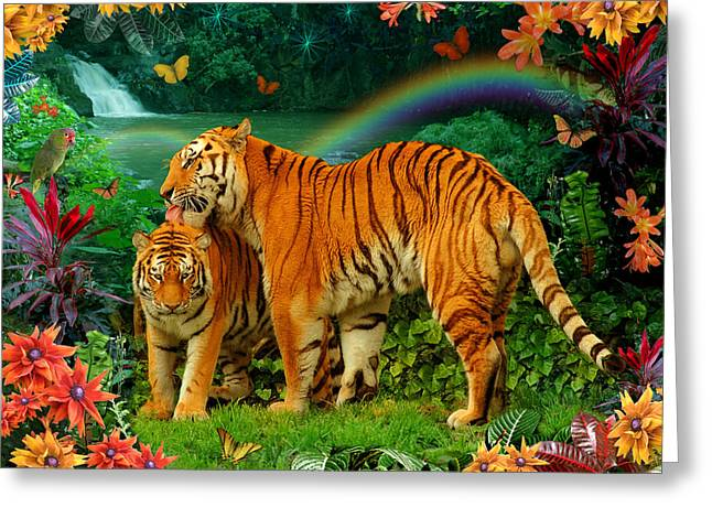 Animals Love Greeting Cards - Tiger Love Tropical Greeting Card by Alixandra Mullins
