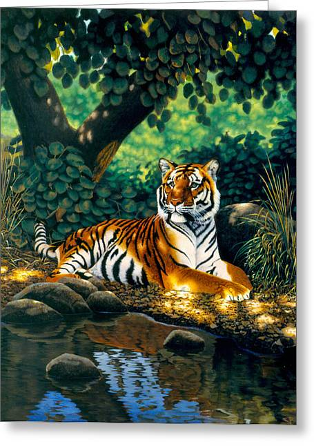 Tiger Greeting Card by MGL Studio - Chris Hiett