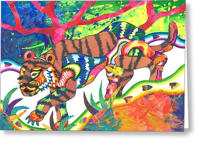 Andrew Michael Greeting Cards - Taonga - Tiger Greeting Card by Michael Andrew Frain