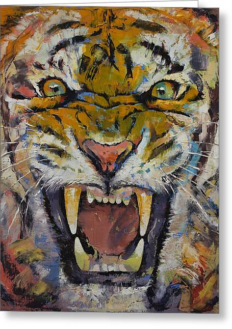Furious Greeting Cards - Tiger Greeting Card by Michael Creese
