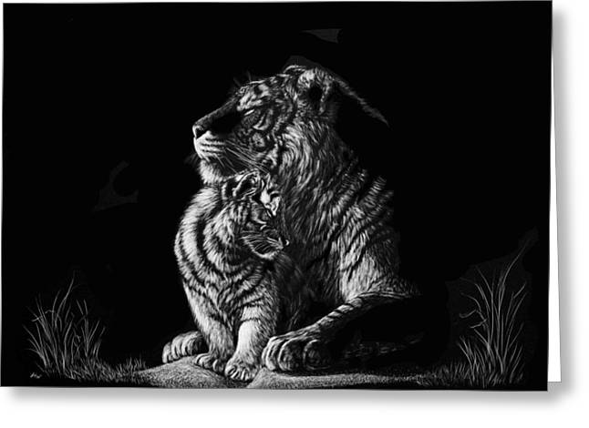 Photorealism Greeting Cards - Tiger Mother Greeting Card by Heather Ward