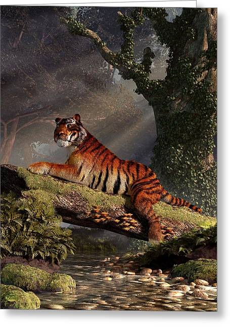 Tiger On A Log Greeting Card by Daniel Eskridge
