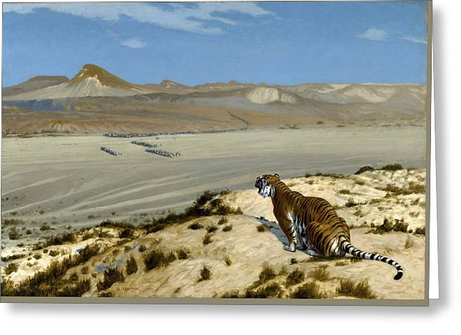Tiger On The Watch Greeting Card by Jean-Leon Gerome