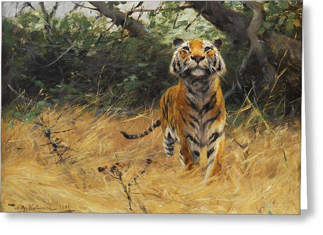 The Tiger Greeting Cards - Tiger on the watch Greeting Card by Wilhelm Kuhnert