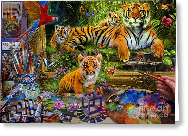 Tigers Digital Greeting Cards - Tiger Painting Greeting Card by Jan Patrik Krasny