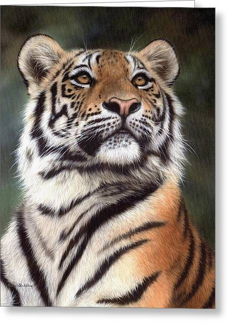Big Cat Art Greeting Cards - Tiger Painting Greeting Card by Rachel Stribbling