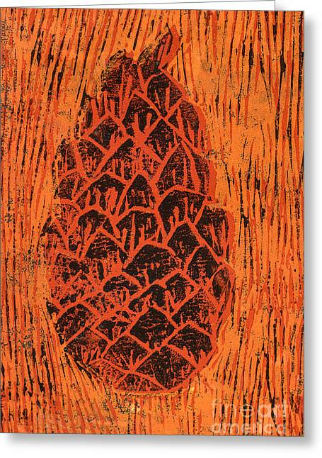 Lino Mixed Media Greeting Cards - Tiger Pine Cone Greeting Card by Amanda And Christopher Elwell