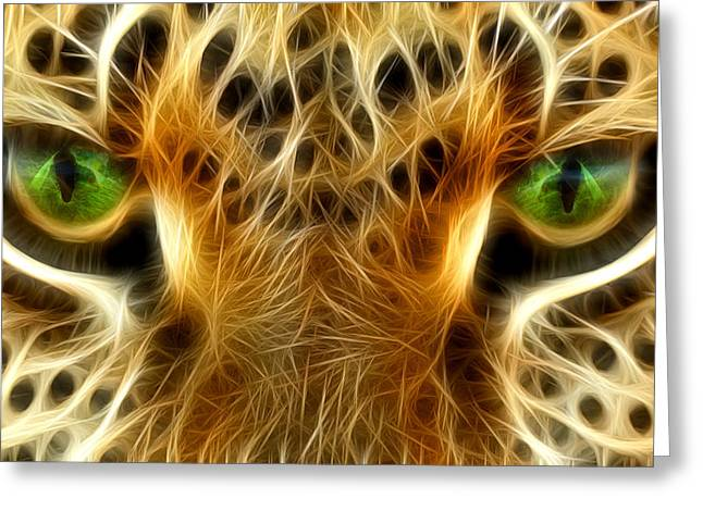 Lion Illustrations Greeting Cards - Tiger Portrait  Greeting Card by Mark Ashkenazi
