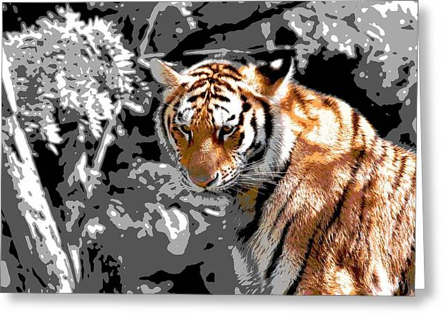 Tiger Digital Art Greeting Cards - Tiger Poster Greeting Card by Dan Sproul