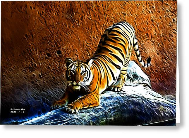 Tiger Fractal Greeting Cards - Tiger Pounce -  Fractal - S Greeting Card by James Ahn