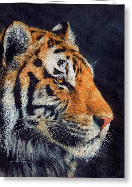 Amur Greeting Cards - Tiger profile Greeting Card by David Stribbling