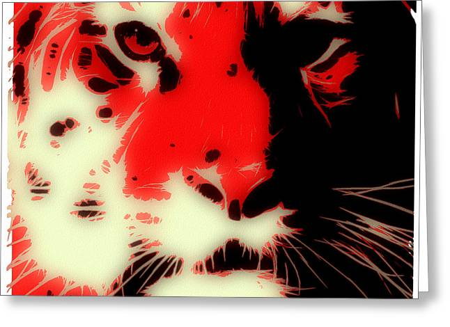 Tilly Art Greeting Cards - Tiger Red Greeting Card by Tilly Williams