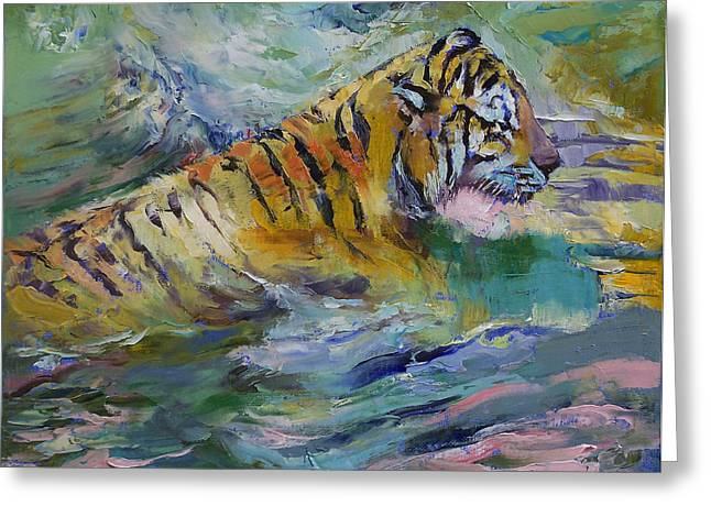 Cat Reflection Greeting Cards - Tiger Reflections Greeting Card by Michael Creese