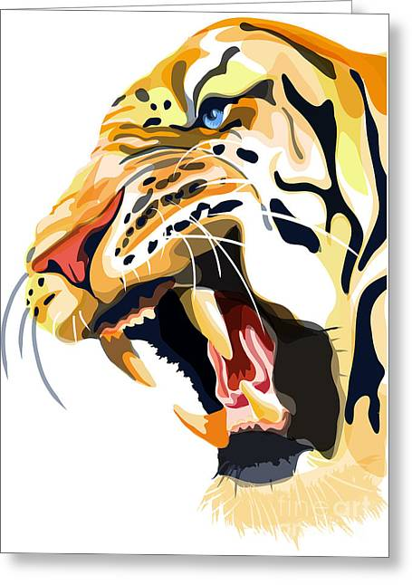 Tiger Illustration Greeting Cards - Tiger Roar Greeting Card by Sassan Filsoof