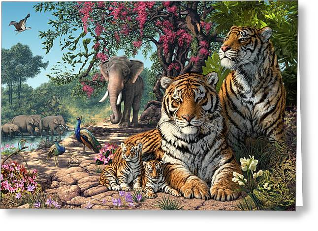 Coloured Greeting Cards - Tiger Sanctuary Greeting Card by Steve Read