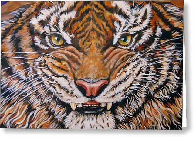 Growling Paintings Greeting Cards - Tiger Greeting Card by Sherry Dole