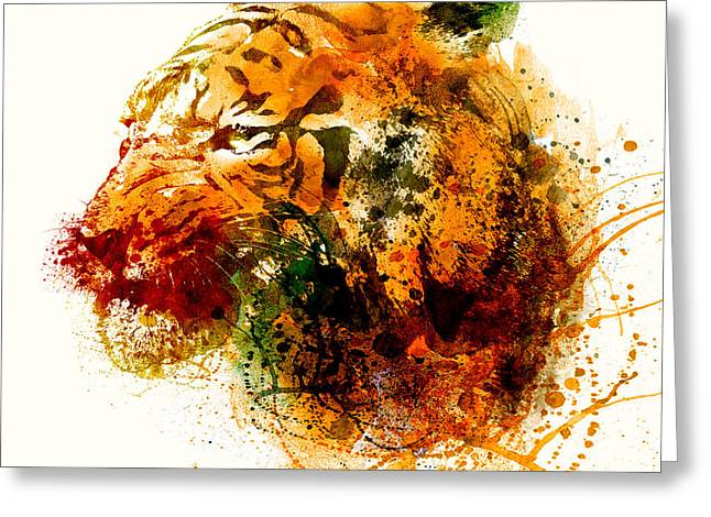Watercolor Tiger Greeting Cards - Tiger Side Face Greeting Card by Marian Voicu
