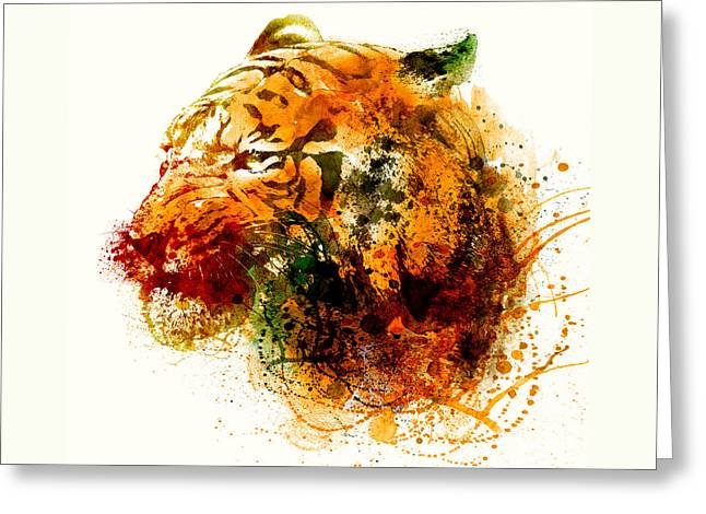 The Tiger Mixed Media Greeting Cards - Tiger Side Face Greeting Card by Marian Voicu