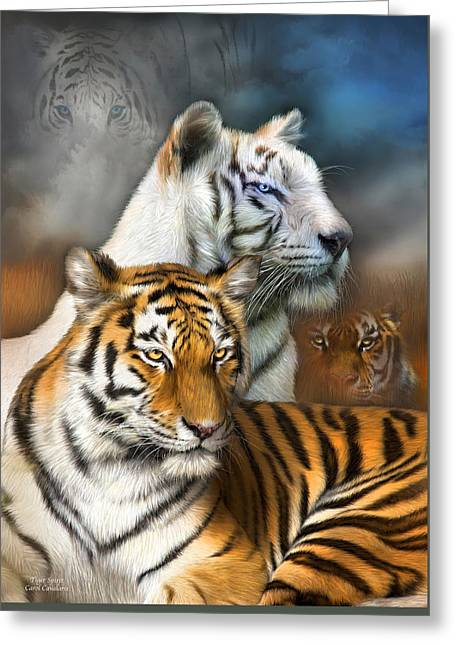 Tiger Print Greeting Cards - Tiger Spirit Greeting Card by Carol Cavalaris