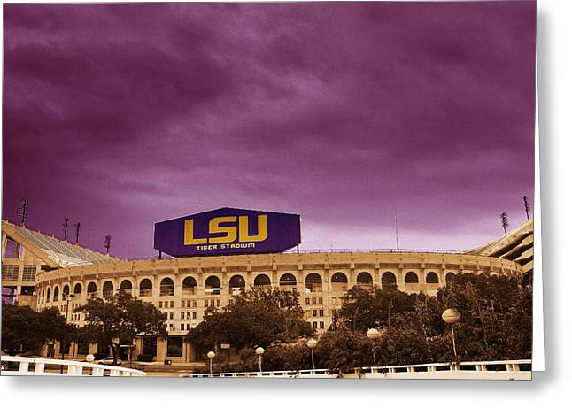Lsu Tigers Greeting Cards - Tiger Stadium Greeting Card by David Keith