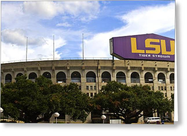 Louisiana State University Greeting Cards - Tiger Stadium Panorama Greeting Card by Scott Pellegrin