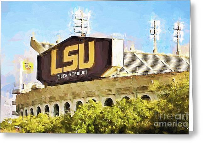 Pellegrin Greeting Cards - Tiger Stadium Greeting Card by Scott Pellegrin