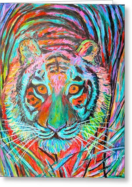Kendall Kessler Greeting Cards - Tiger Stare Greeting Card by Kendall Kessler