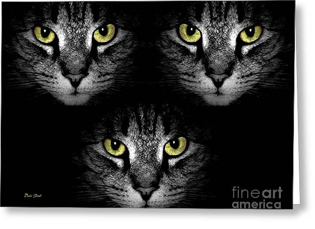 Photos Of Cats Digital Greeting Cards - Tiger Tiger Times Three Greeting Card by Dale   Ford