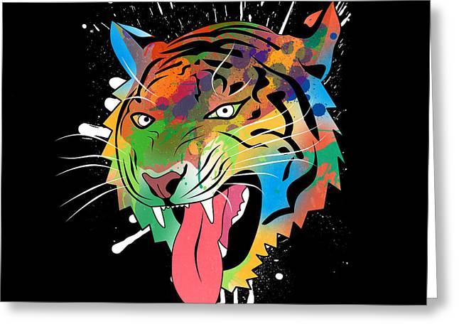 Tiger Illustration Greeting Cards - Tiger Vector  Greeting Card by Mark Ashkenazi